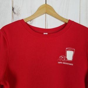 Old Navy   Santa Understands Red Fleece Sweatshirt